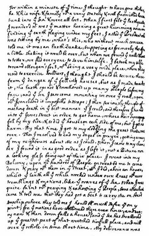 1692 Port Royal Earthquake - Edmund Heaths Earthquake Account Page 2 (1692)