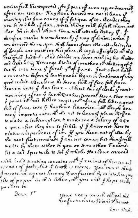 1692 Port Royal Earthquake - Edmund Heaths Earthquake Account Page 3 (1692)