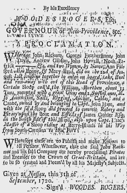 Mary Read - Woodes Rogers Proclamation