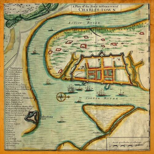 A Plan of the Town and Harbour of Charles-Town - Edward Crisp (1711)