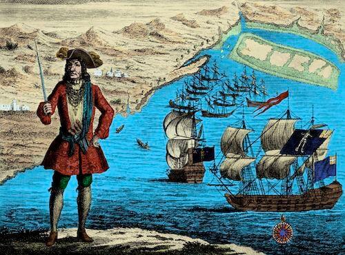 Bartholomew Roberts Blockades Ouidah Harbor - A General History of Pyrates (1725)