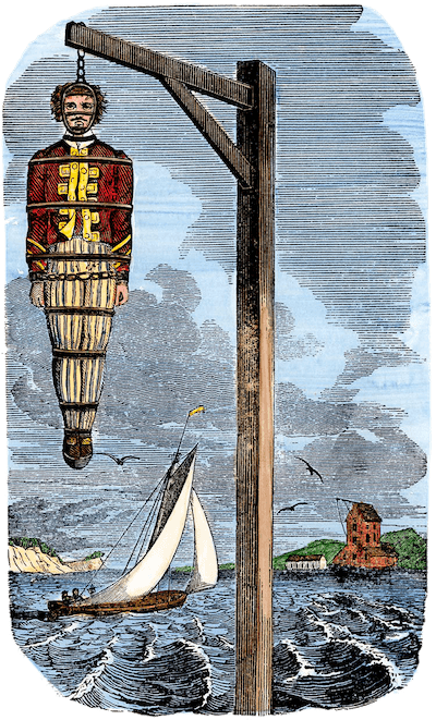 Captain Kidd Hanging in Chains - Pirates Own Book (1837)